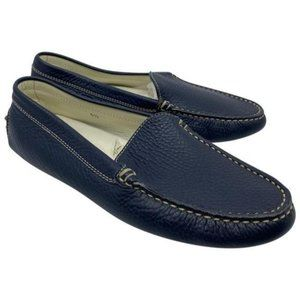 tod s navy leather classic loafers flats size us